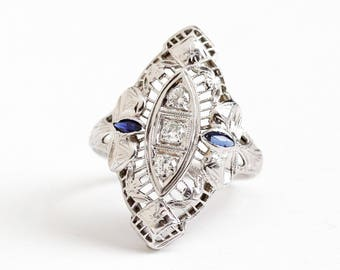 Sale - Antique 18K White Gold Filigree Diamond & Created Sapphire Ring - Size 5 1/2 Vintage Art Deco 1920s Shield Flower Bow Fine Jewelry