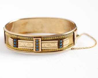 Antique Etched Bangle - Rosy Yellow Gold Filled Hinged Turquoise Blue Enamel Leaf Bracelet - Vintage Victorian 1890s Leaves Stacking Jewelry