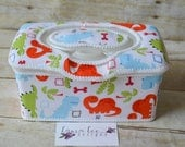 READY TO SHIP Dinosaur Flip Top Nursery Baby Wipe Case, Wipes Tub, Personalized Case, Diaper Wipes Case, Baby Shower Gift, Large Wipecase