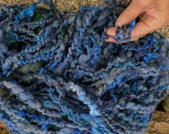 Wintertime Blues handspun yarn 105 yard skeins Shetland wool kid Mohair
