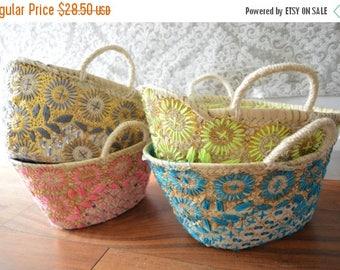KAFTAN SUMMER 10% SALE Kids Basket Panier Flower -great for Storage, nursery, beach, picnic, holiday, Marrakech Basket Bag, autumn trend