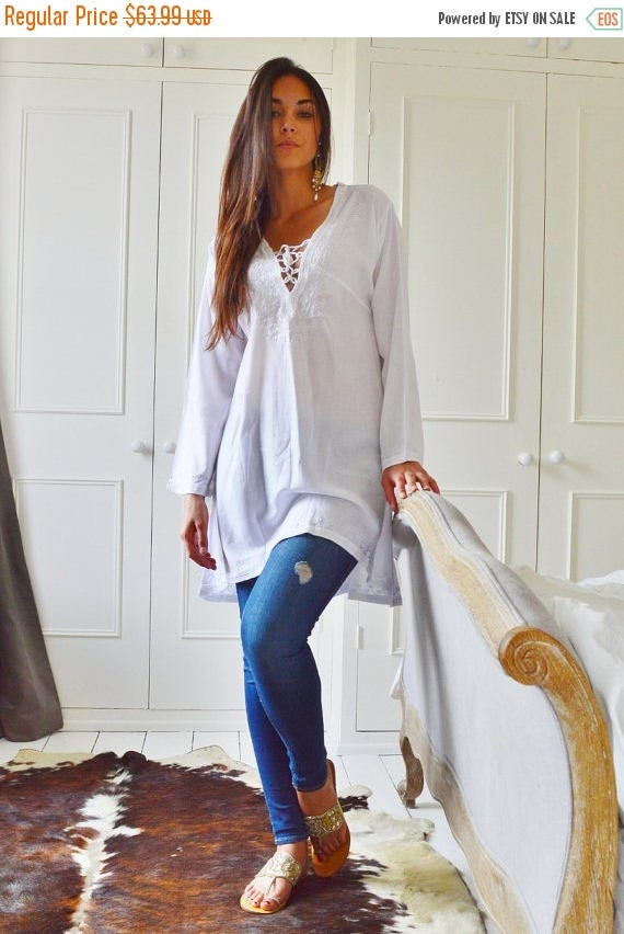 25% OFF Autumn Sale// White Tunic Embroidered Dress-Karmia's Syle
