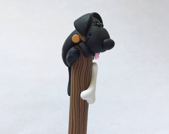 Polymer Clay Black Lab Pooch on a Stick Ball Point Pen