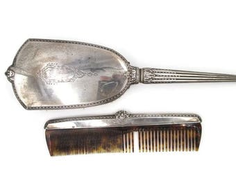 Antique Sterling Hand Mirror and Comb Set - Art Deco Sterling Mirror & Comb - International Sterling Dresser Set