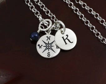 My Petite Compass Necklace - Sterling Silver Personalized Compass Jewelry