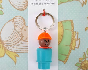 Keychain - Vintage Fisher Price little people - construction worker