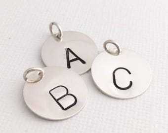 """stamped initial disc, 5/8"""" sterling silver disc, initial pendant, letter disc, ready to ship initials, malisay designs"""