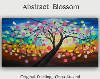 sale Abstract large original Oil Painting, Impasto Texture landscape painting Happy Tree Modern art on gallery canvas by tim lam 48x24