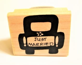 wedding just married car woodblock rubber stamp by Savvy Stamps