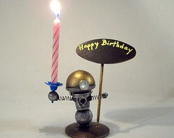 RESV for Ingrid Robot Birthday or ANY Cake Topper AND Candle Holder Wood Bobby Statue Candles