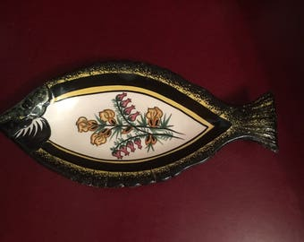 Vintage Antique French Country Quimper Fish Shaped Dish