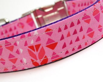 Handmade Dog Collar - Hot Pink Geometry - Neon Pink Dog Collar Custom Made - With red arrows and triangles - 80s collar