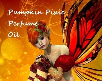 15% off PUMPKIN PIXIE Perfume Oil - Pumpkin, Juicy Pears, Caramel, Roasted Pralines, Nutmeg, Cinnamon - Halloween Perfume- Fall Fragrance