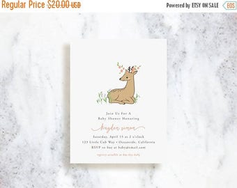 ON SALE Custom Invitations // Woodland Fawn // Birthday Party Invite // Baby Shower