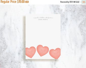 ON SALE Personalized Note Card Set // Hearts // Stationery Set