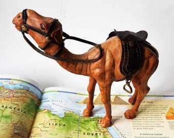 Vintage Leather Camel/ leather Embossed Wrapped  Dromedary Figure/ With Saddle Bridle and Stirrups/ Original
