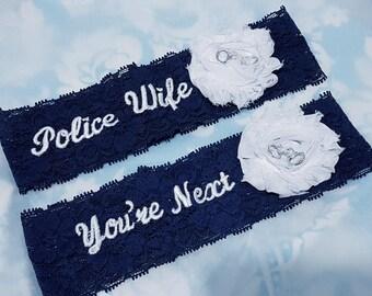 Police Navy blue Wedding Garter set - stretch lace garter - handcuffs garter - police wife garter - two garters - 2 chiffon flower garters