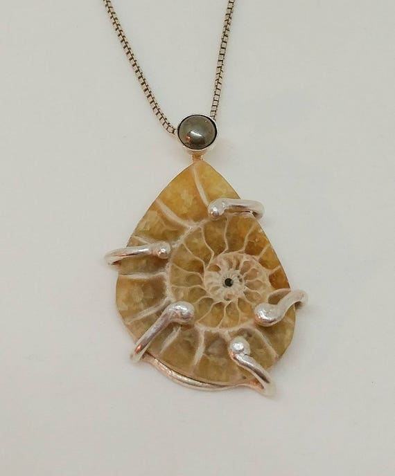Ammonite and Pyrite Sterling Silver Pendant
