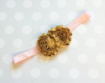 Blush and Gold Rose Headband -  Gold Headband - Baby Headband - Girls Headband - Womens Headband
