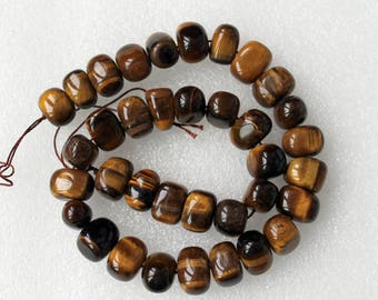 Genuine Tiger Eye Smooth Nugget Beads - 16 Inch Strand
