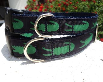 """Sale Dog Collar Big Mouth Gator 3/4"""" or 1"""" width Quick Release buckle collar adjustable - upgrade to martingale w/link within"""