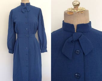 """1950's Colonial Blue Rayon Crepe Button Up Dress Size Small 26"""" Waist by Maeberry Vintage"""