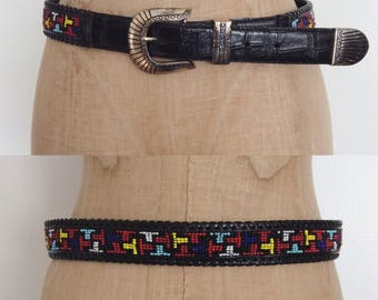 1980's Black Multicolored Beaded Leather Western Belt Size Large by Maeberry Vintage