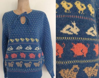 1980's Farm Animals Blue Wool Blend Pullover Sweater Size Large by Maeberry Vintage