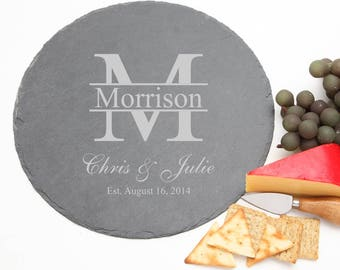 Personalized Round Slate Cheese Boards, Custom Engraved Slate Serving Tray, Personalized Slate, Personalized Wedding Gifts, Housewarming D24