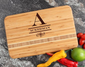 Personalized Cutting Board, Personalized Wedding Gift, Custom Engraved Bamboo Cutting Boards, Monogram Gifts, Housewarming Gifts-12 x 8 D12