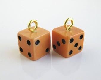 2 Bakelite Dice Charms - Vintage, Yellow, Small