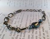 Custom Order - Gunmetal Chain Bracelet with Black Pearls