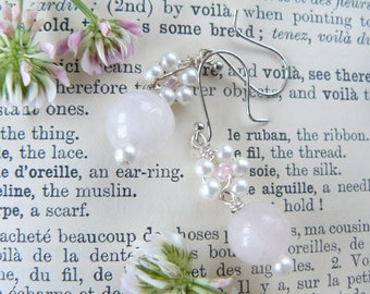 Rose Quartz and Glass Pearl Drop Earrings
