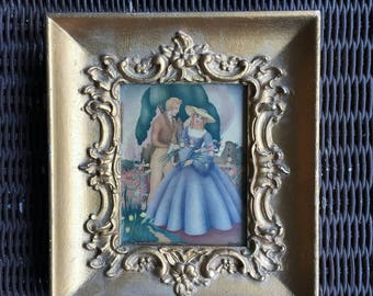 "Vintage Painting Signed by Sandre/ 1940s Antique European painting 8.5""x 7.5""-Signed Italian Victorian painting/ Victorian art"