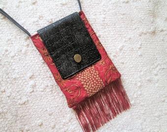 Tapestry Faux Leather Fringe Boho Vintage Inspired Crossbody Bag