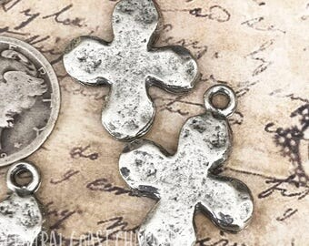 Old World Hammered Pewter Ancient Cross Charm (2) Antique Silver 25mm - Small Cross Pendant Spiritual Religious Boho - Central Coast Charms