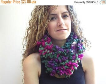 CIJ SALE Circle Scarf, Neck Warmer, Double Layer scarf, Purple, Magenta, Olive Green infinity Scarf with Large Button