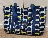 Tote Houndstooth Dachshunds on Navy