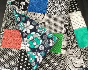Hand Made Modern Baby Quilt, Black, White and Brights, Floral Backing