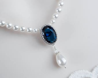 Blue Sapphire Bridal Necklace Necklace, Bridal Pearl and Blue Sapphire CZ Drop Necklace, Something Blue Necklace, Wedding Bridal Jewelry