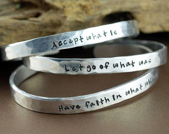 Inspirational Bracelet, Hand Stamped Message Bracelet, Quote Jewelry, Inspirational Jewelry, Custom Cuff Bracelet, Mantra Bracelet