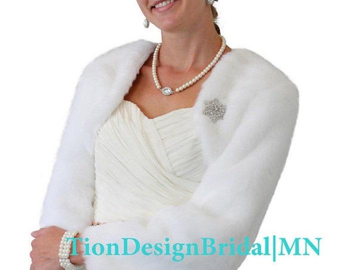 Spring Sale White faux fur jacket, Bridal jacket, Wedding fur jacket, Bridal wrap stole, Bridal cape #890F-WHI (Black / White)