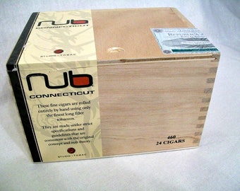 Wooden Cigar Box - Empty - For Crafting - NUB - Connecticut - Slide Top