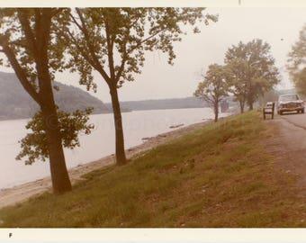 Vintage Photo, Ohio River at Madison Indiana, River, Trees, Vintage Car, Snapshot, Old Photo, Color Photo, Travel Photo, Landscape