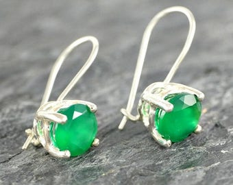 Green Onyx Earrings Gift For Women, Sterling Silver Earrings, Green Onyx Jewelry Gift for Her, Green Gemstone Earrings
