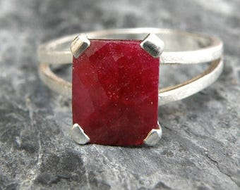 Ruby Ring, July Birthstone Ring, Ruby Engagement Ring, Sterling Silver Ring, Emerald Cut Ring, Genuine Ruby Jewelry - MADE TO ORDER