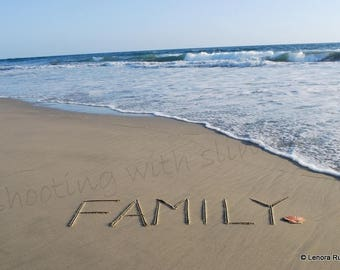 FAMILY, Shell, Writing in the Sand, Instant Download
