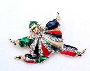 20% OFF SALE - Signed PUCCINI Enamel and Clear Rhinestone Newer Vintage Brooch