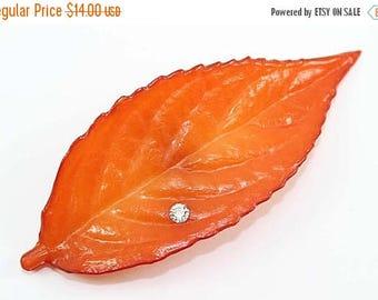 20% OFF SALE - Buch & Deichmann Denmark Orange Leaf and Crystal Rhinestone Brooch