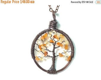 20% OFF Vacation SALE The Petite Tree of Life Antiqued Copper Necklace in Citrine and Carnelian.